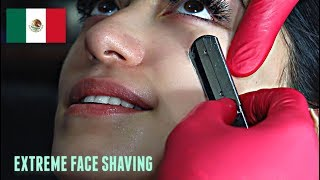 SHAVING A MEXICAN WOMAN'S FACE V.10! *EXTREME* Straight Razor Tutorial HD!