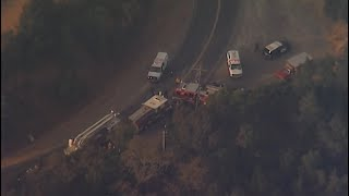 Raw Video: Chopper 5 Over Fatal Water Tender Crash Near Fire Zone