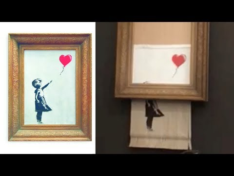 Banksy's painting self-destructs after £1mil sale at Sotheby auction