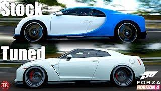 Forza Horizon 4: Stock vs Tuned! Bugatti Chrion vs Nissan GT-R