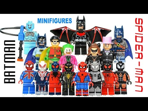 Batman & Spider-Man plus Buildable Giant Spider Unofficial Lego Minifigures w/ Robin & Joker