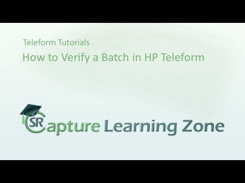 How to Verify a batch in Teleform