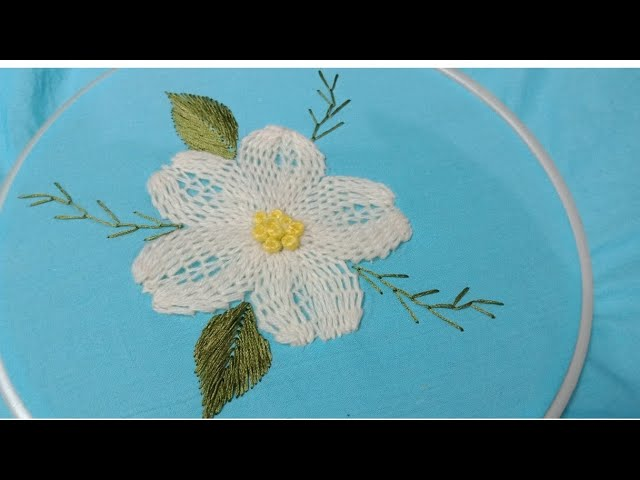 Hand embroidery beautiful flower design with easy basic Stitches