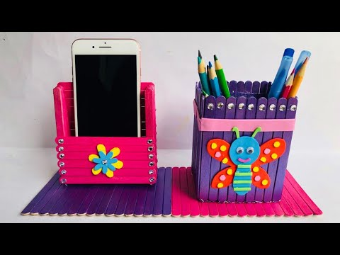 DIY Pen and Mobile Holder with Icecream Sticks   Home Crafts Ideas   #39  