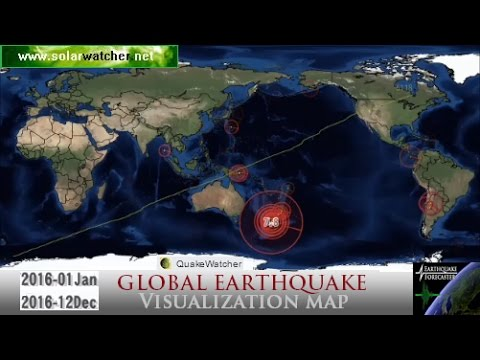 2016 Global Earthquake Visualization Map Youtube