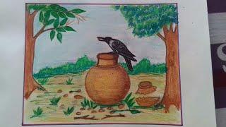 How to draw a thirsty crow scenery