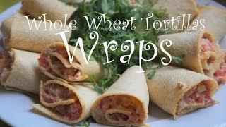 لفائف سلطة التونة في خبزالتورتيا المنزلي Whole Wheat Tortila Tuna Wrap From Scratch