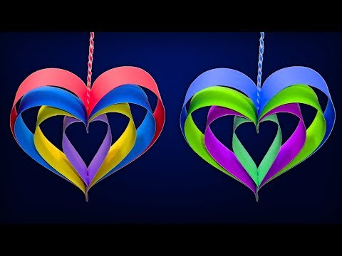 How To Make Hanging Paper Heart - DIY Christmas Crafts Handmade Decorations With Paper Stripes