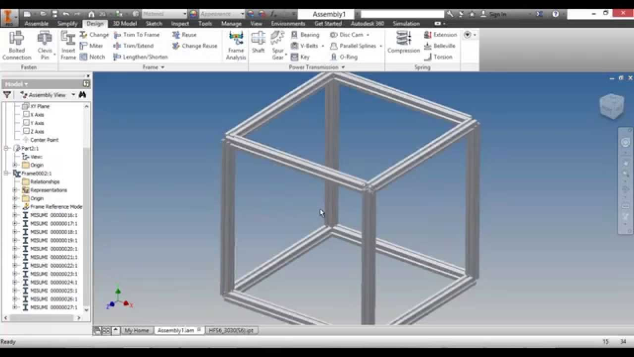 Autodesk inventor aluminum frames library youtube for Autodesk online home design