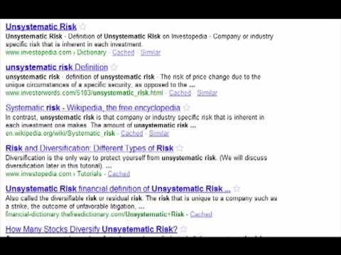 unsystematic risk wiki