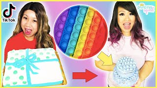 FIDGET TOY POP IT CAKE! TRANSFORMING CHEAP VS EXPENSIVE CAKE CHALLENGE