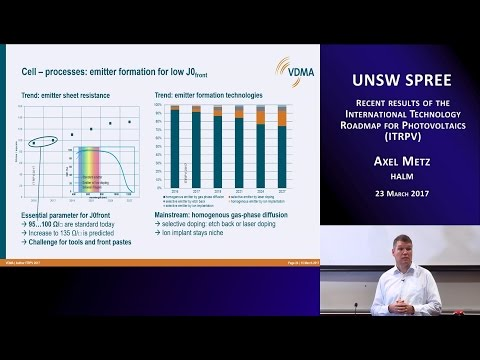 UNSW SPREE 201703-23 Axel Metz - Recent results of the International Technology Roadmap for PV