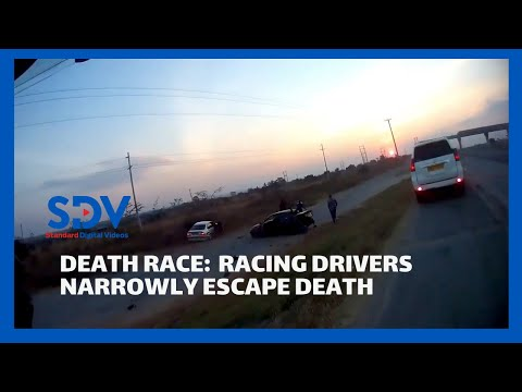 Death race: Two drivers racing narrowly escape death after the cars lost control and crashed