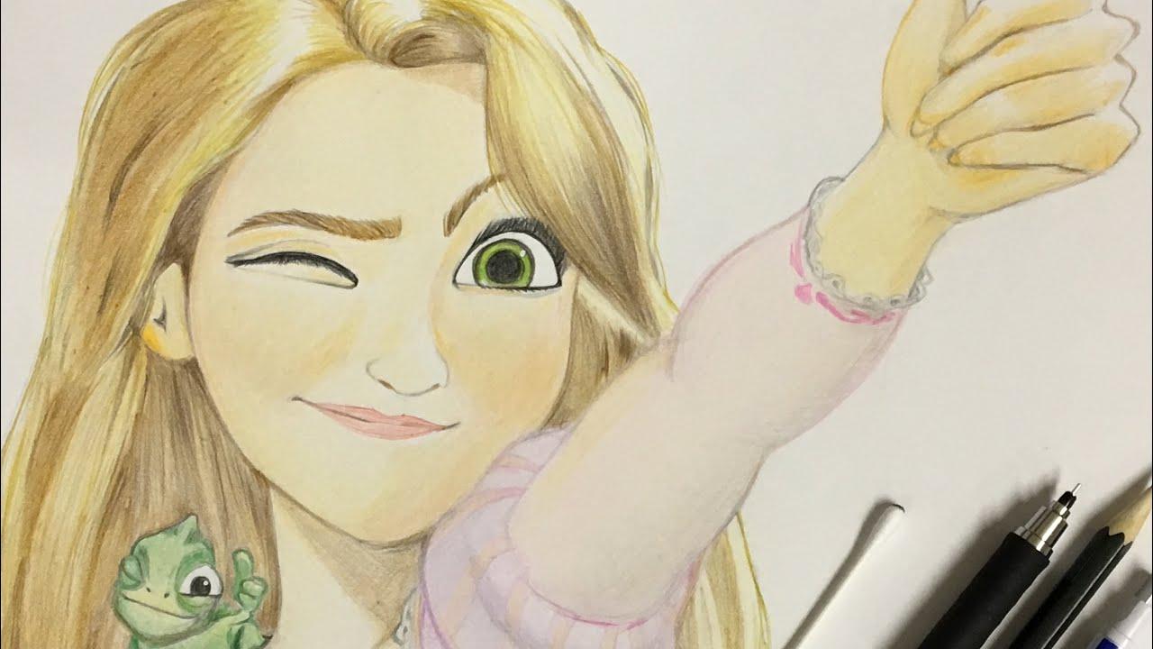 塔の上のラプンツェルラプンツェルをシャーペンと色鉛筆で描いてみた