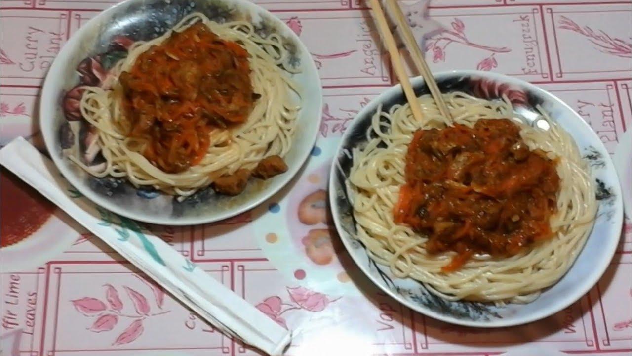 """Очень вкусные спагетти с мясом и овощами """"Spagetti a la Ma ..."""
