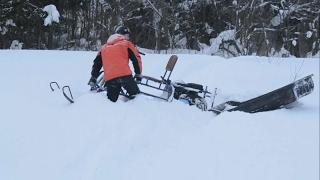КОМИ Проходимость мотобуксировщика Бурлак с лыжным модулем