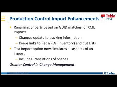 Production Control: Enhanced Imports in Tekla EPM 2019i