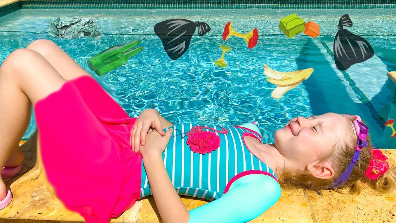 Nastya aprende a nadar en la piscina, cuentos infantiles