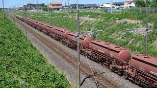 安中貨物 5094レ EH500-37+タキ+トキ 岩間~友部 大沢跨線橋 通過 2018.05.20