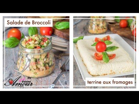 Terrine aux fromages et basilic/ salade de brocoli cru et noix, recettes au thermomix