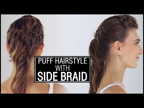 front-puff-with-side-french-braid---easy-and-elegant-hairstyle