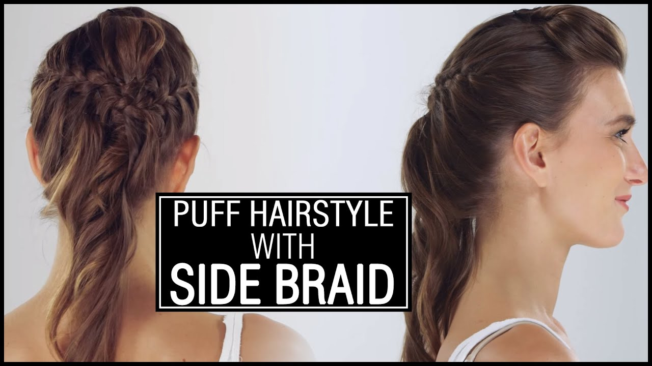 how to make front puff hair style front puff with side braid easy and 3186