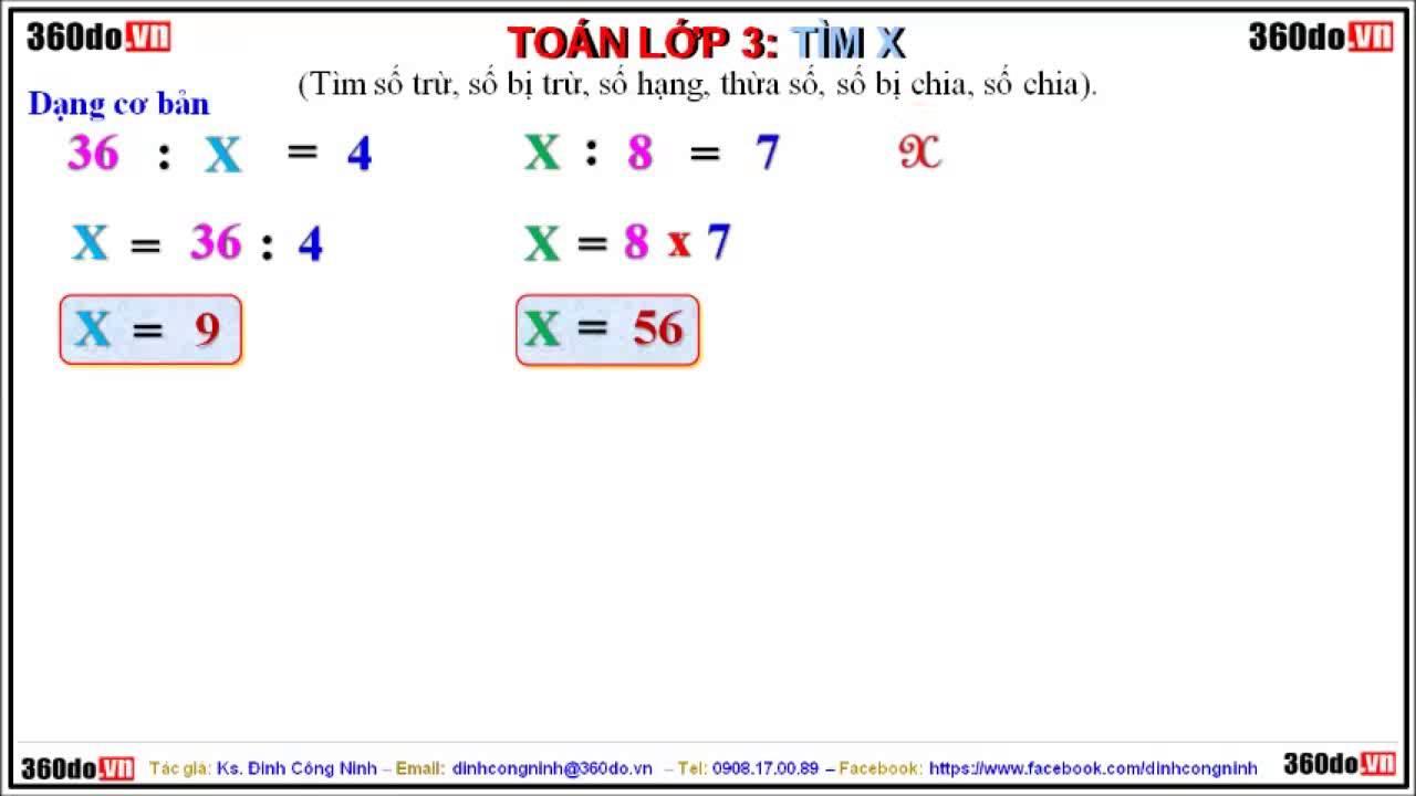 Toán lớp 3: Các dạng Toán tìm X (Số chia, Số bị chia, Số trừ, Số bị trừ…) – Dạng 1