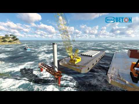 WIKA  Proses pemancangan tiang beton tengah laut