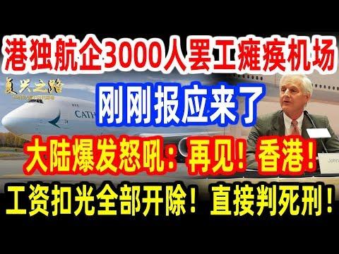 港独航企3000人大罢工瘫痪香港机场,刚刚报应来了!大陆爆发怒吼:再见!香港!工资扣光全部开除!直接判极刑!