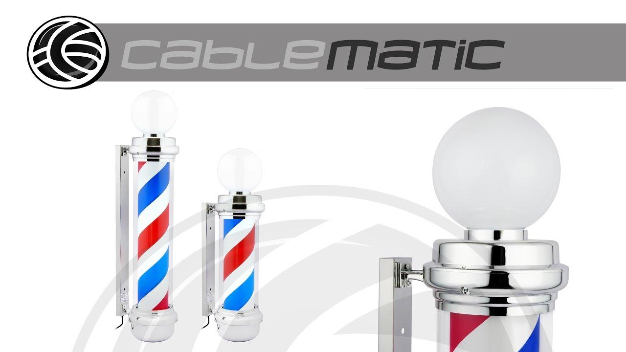 Pirulo palo o poste de barbero vintage giratorio con luces