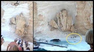 Κατάρρευση Βράχου στην Παραλία Ναυάγιο στη Ζάκυνθο