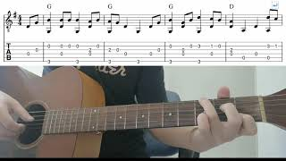 Beginner Fingerstyle Guitar - (Red River Valley) Playthrough Tutorial Lesson With Tab