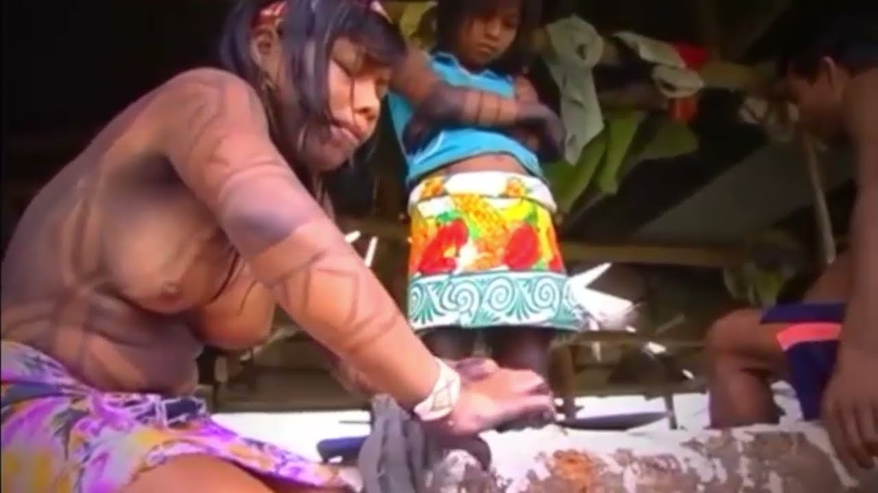 Embera Indian girl with body painting made of jagua