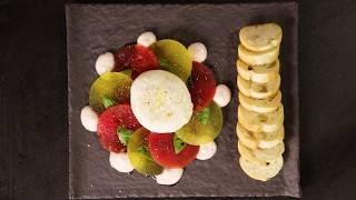 Burrata with Basil Watermelon Foam and Smoked Olive Oil