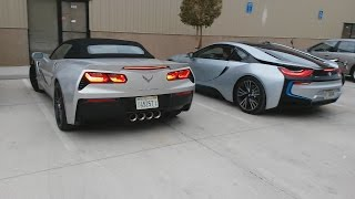 bmw i8 and corvette stingray convertible with f35 fly over