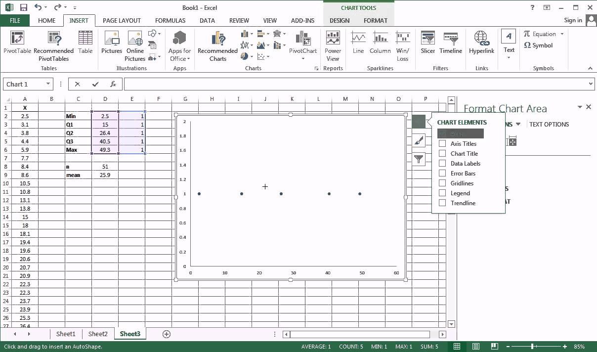Quick Boxplot in Excel 2013