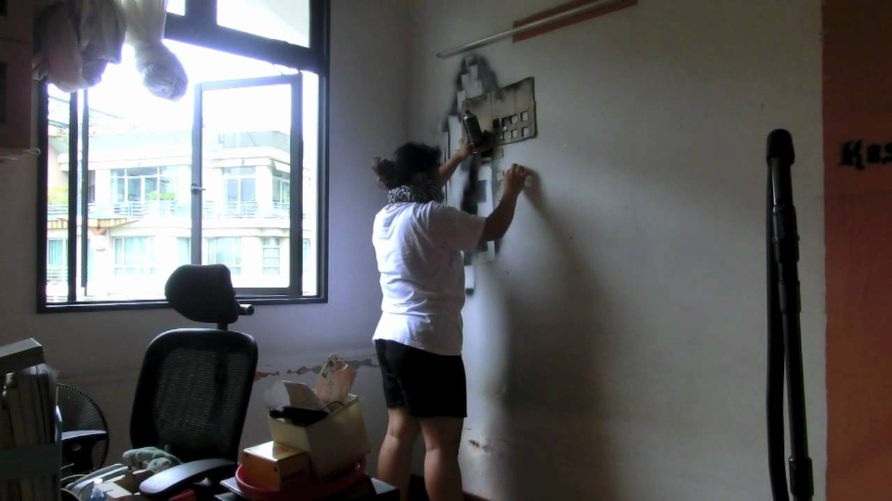 spray painting my room wall youtube. Black Bedroom Furniture Sets. Home Design Ideas