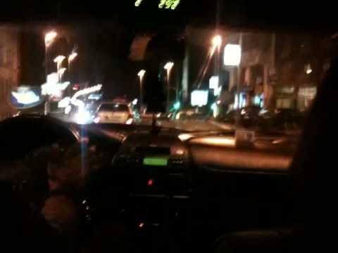 Night taxi ride through Belgrade