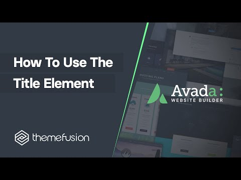 How To Use The Title Element Video