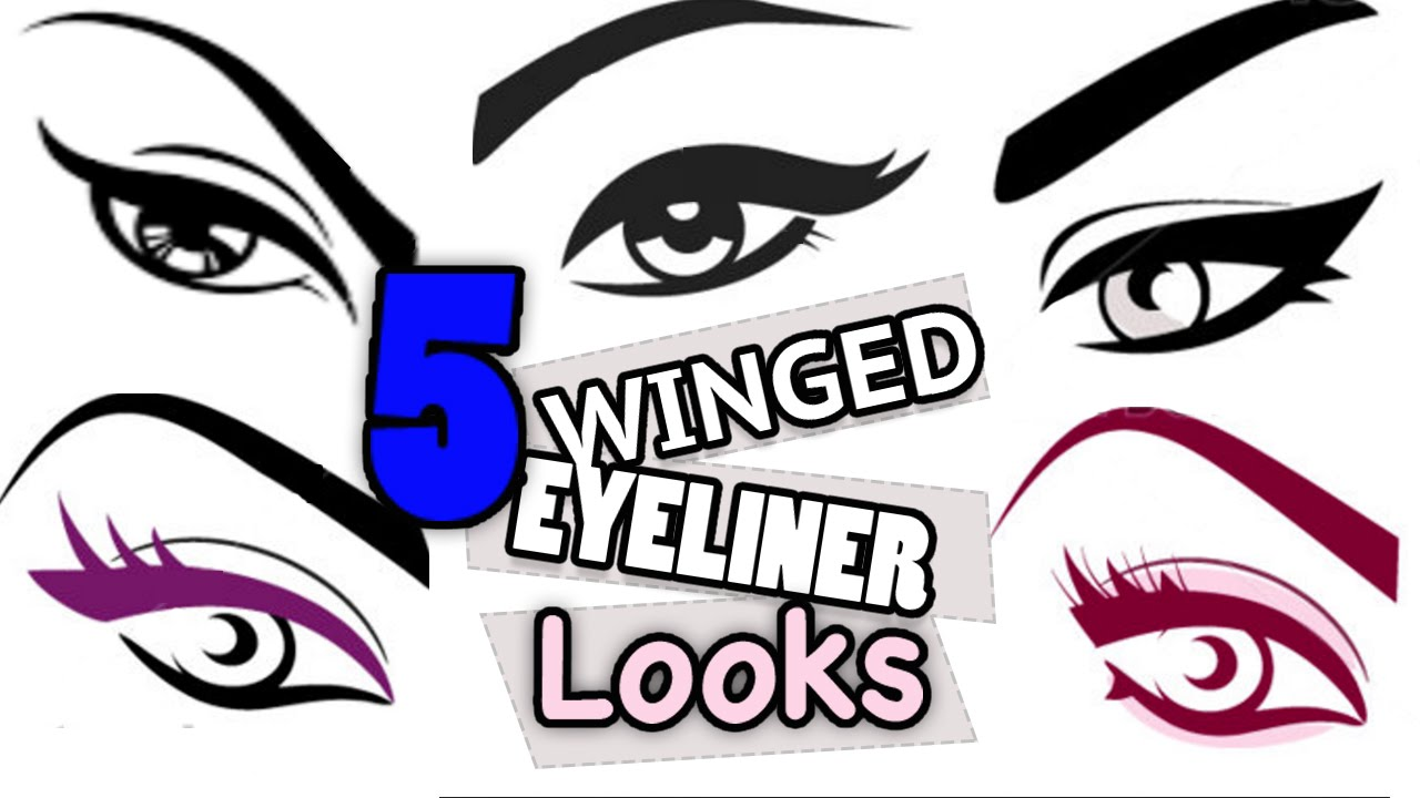 5 Wearable Winged EYELINER LOOKS // FREE Online Makeup Lessons 101 ...