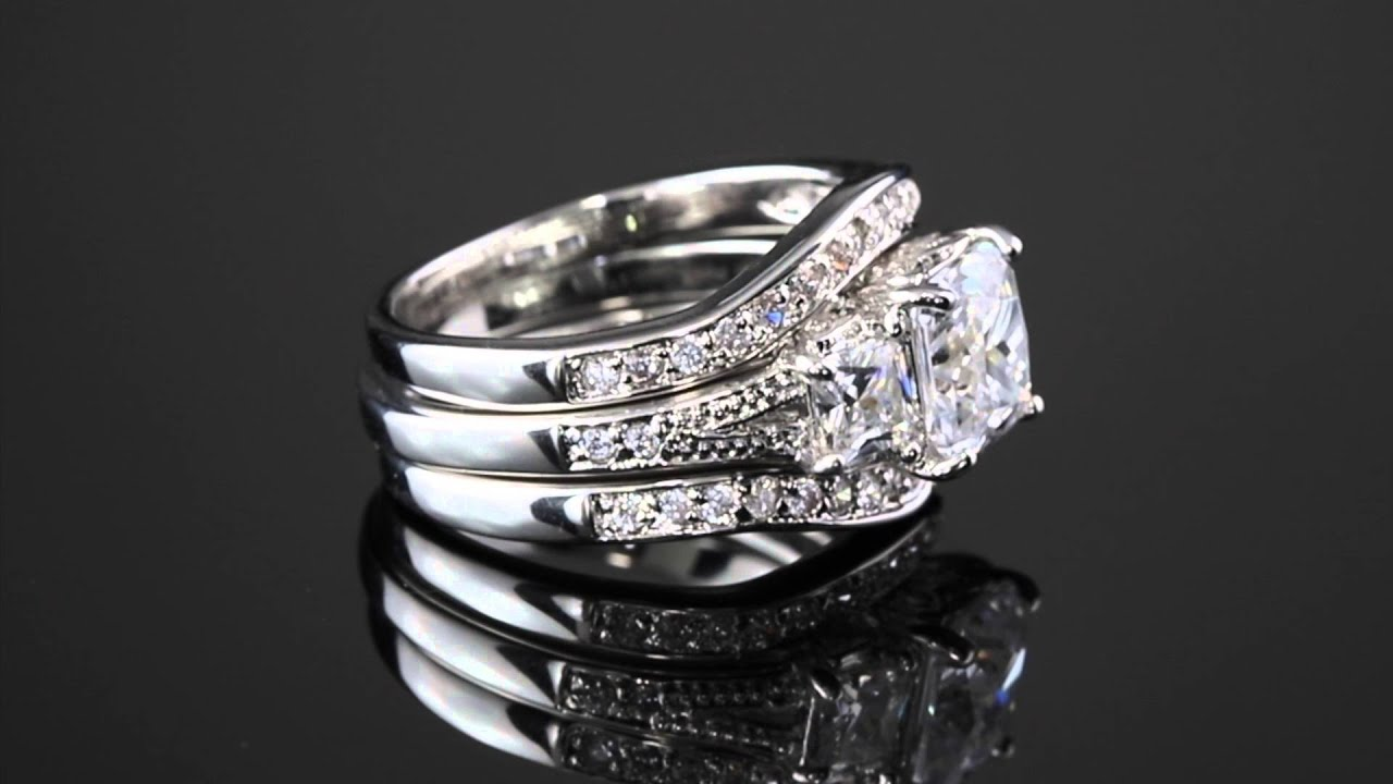 289 TCW Princess Cut Cubic Zirconia Platinum Plated Bridal Engagement Wedding Band Set