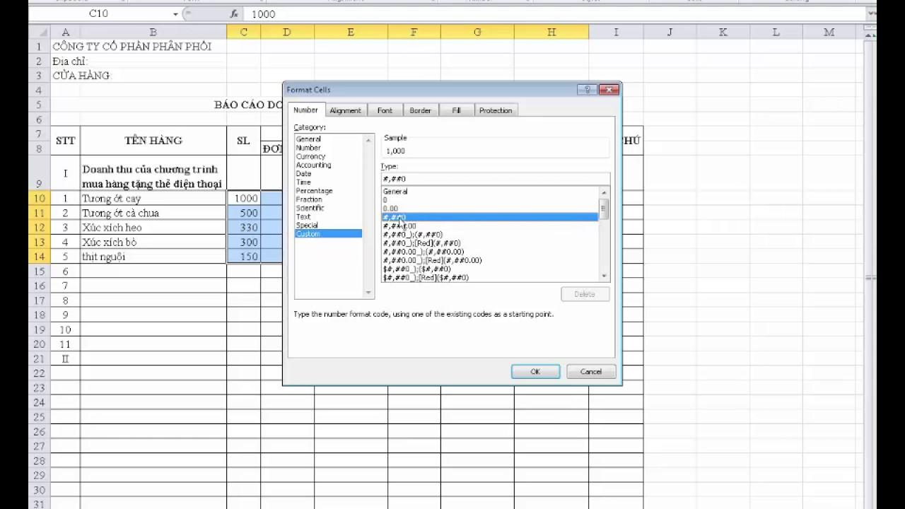 Hướng dẫn thực hành tạo bảng báo cáo doanh thu theo tháng