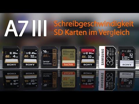 Sony Alpha 7 III - Unterschiedliche SD Karten im Geschwindigkeitsvergleich - UHS I - UHS II