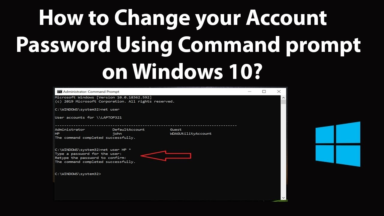 How to Change your Account Password Using Command prompt on Windows 28?