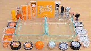 Mixing Slime ASMR with Orange vs Holo Makeup