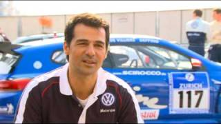 Erol sander driving the volkswagen scirocco r at nurburgring