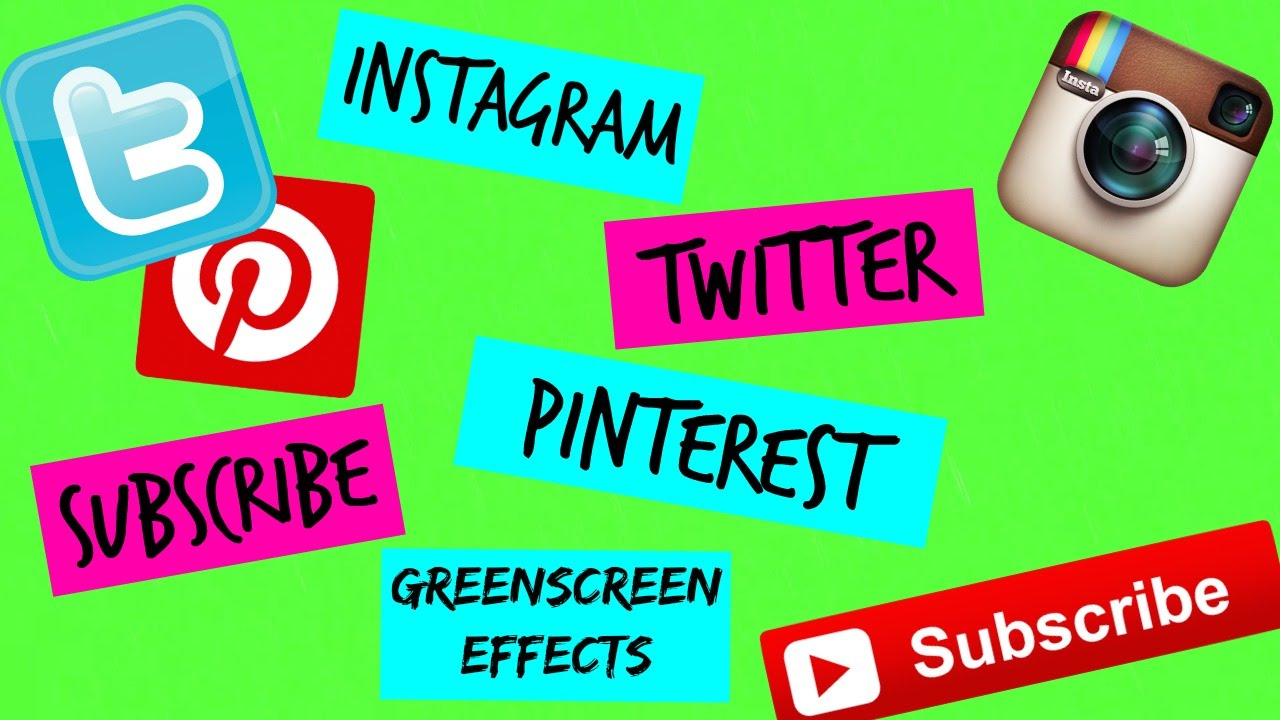 Animated Subscribe, twitter, Instagram, Pinterest (Green ...