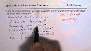 How To Find Remainder Of Polynomial Divided By Quadratic Function Without Divisi