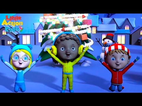 Jingle Bell Rock Christmas Song with Dance Moves | Little Action Kids