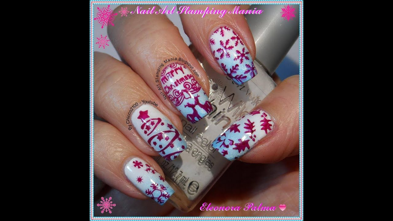 Christmas Nail Art With Cicisisi Merry Christmas Plate Youtube
